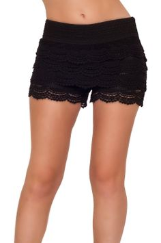 Hot From Hollywood Women's Posh Sexy Fitted Lace Layered Summer Shorts ($24.99) - They fit great, they are cute and comfortable. - Not sure but smell terribly...  I washed them yesterday and after they dried out today they smell again... not sure what is that. - I want to buy another pair but can't decide on which color?! http://www.amazon.com/exec/obidos/ASIN/B00DB9TZ3U/hpb2-20/ASIN/B00DB9TZ3U