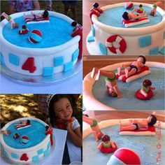 Having a pool party? How about a swimming pool playmobil cake?