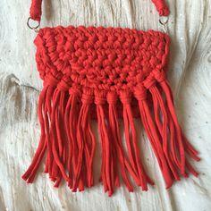 pretty red tshirt yarn crochet clutch shoulder от myladiesandme