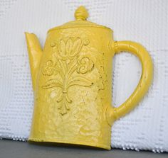 Yellow Teapot Vintage Dart Syroco Resin Wall Hanging- Shabby Chic Country Cottage Yellow Grey White Kitchen Decor Wall Decoration via Etsy