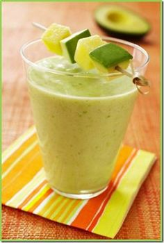 Avocado Pineapple Smoothie Recipe {via momstart.com}:    1 fully ripened and diced avocado  1 20-ounce can pineapple chunks and juice   2 cups ice