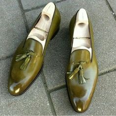 Olive color men tassel loafer handmade custom leather shoes for men sold by Lajuria. Shop more products from Lajuria on Storenvy, the home of independent small businesses all over the world. Mens Leather Loafers, Leather Men, Leather Shoes, Custom Leather, Handmade Leather, Cowhide Leather, Soft Leather, Leather Tassel, Leather Tooling