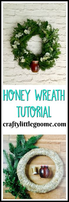 #ad make a wreath with winter greenery and and @donvictorhoney. Make a great inexpensive gift with a great impact. #honeyforholidays #donvictorhoney