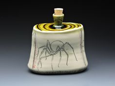 Kristin Gruenberger ceramics - spider flask