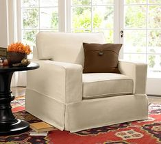 PB Comfort Square Sofa with Slipcover, Twill White - Sofa Slipcovers - Couch Slipcovers - Pottery Barn Armchair Slipcover, Loveseat Slipcovers, Furniture Slipcovers, Upholstered Arm Chair, Furniture Covers, Swivel Armchair, Chair Covers, Modern Furniture, Rustic Furniture