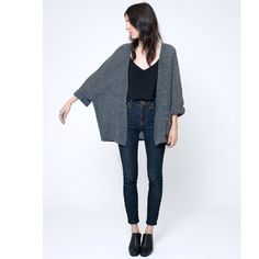The sweater cape in grey boucle is now on the site- great gift for your lady or your mom...