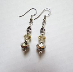 Gold Silver Faceted Swarovsky Crystal Dangle earrings by GypsyDreamerCafe, $10.50