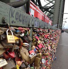 Love locks on Cologne bridge Thalys Train, Love Lock Bridge, Cologne Germany, Train Journey, Holiday Destinations, Bridges, Locks, Amsterdam, Favorite Things