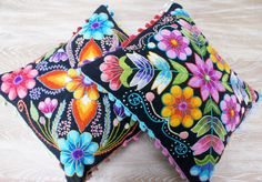 Peruvian Pillow cushion covers Hand embroidered flowers Sheep & alpaca wool 16 x 16 handmade 2 Black by khuskuy on Etsy