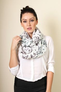 Women's Birds and Butterfly Infinity Scarf - www.AnikaDali.com (Fashion Scarves. Unique Gift Ideas. For Her. Snood.) #ANIKADALI