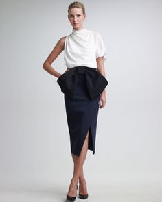 LOVE the HUGE bow!  Donna Karan Duchess Satin Jersey Slit Skirt, Asymmetric Sculptural Crepe Blouse & Bow Belt