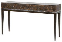 MONACO console table Bronze resin, bronze eglomise and nickel inlay 1500 x 400 x 870 mm h www.decorusfurniture.co.uk