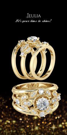 Jeulia 3PC Yellow Gold Milgrain Leaf Round Cut Created White Sapphire Wedding Set #Jeulia