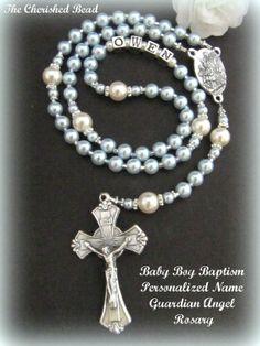 Baby Boy Baptism Personalized Name Light Blue by TheCherishedBead, $42.00