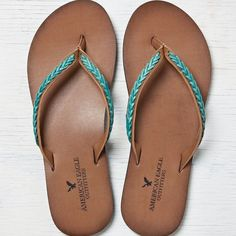 AEO Braided Leather Flip Flop ($20) ❤ liked on Polyvore featuring shoes, sandals, flip flops, turquoise, sandals & flip flops, leather strap sandals, woven shoes, leather flip flops and american eagle outfitters