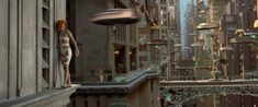A futuristic car chase is one of the most recognizable scenes from this film in which Digital Domain created CG vehicles that fly through the aerial 'streets' of a futuristic New York City.  The city buildings were realized with the help of detailed model & miniature work while CG environments and extensive space travel enhance this sci-fi epic.