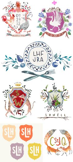 crest inspiration - i like top left w/ date in the crest & names below, but much simpler overall