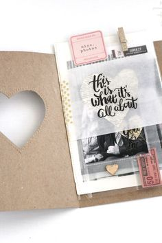 "Adorable mini album with cut out heart. / ""This is what it's all about"" by Amy Yingling at #gossamerblue"