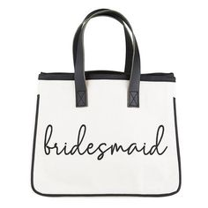 bridesmaid Canvas Tote   Time Your Gift Wedding Gifts For Groom, Bride Gifts, Be My Bridesmaid Cards, Bridesmaid Gifts, Bridesmaids, Mini Canvas, Leather Handle, Reusable Tote Bags, Purses