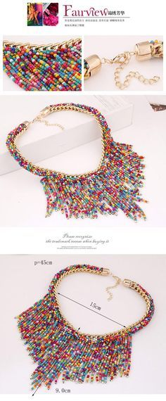 Bohemia Multicolor Beads Decorated Weave Tassle Design Alloy Fashion Necklaces ,Fashion Necklaces