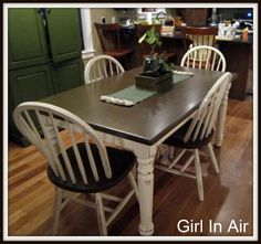 I want to MAKE my own farmhouse table....  But until I have the time to do that project...  I decided to stain the table and chairs I hav...