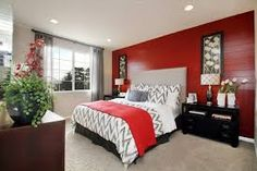 Grey and red bedroom. Chevron! maybe the red a little brighter ...
