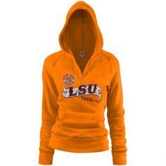 LSU Tigers Ladies Rugby Distressed Deep V-neck Hoodie Sweatshirt - Gold