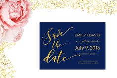 Save the Date navy and gold foil card/save the by TradeandUnion