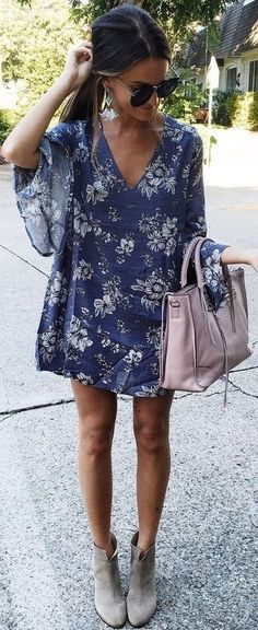 @roressclothes closet ideas #women fashion outfit #clothing style apparel blue Floral dress + ankle boots.