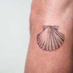Scallop and yellow arrow tattoo