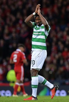 Moussa Dembele of Celtic celebrates after scoring Celtic's 3rd goal from the penalty spot during the Betfred Cup Final between Aberdeen FC and Celtic FC at Hampden Park on November 27, 2016 in Glasgow, Scotland.
