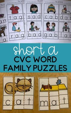 A fun activity that works on short A word families! Students will become familiar with encoding and decoding CVC words as they solve the puzzles. Great to use to work on letter sound correspondence! Perfect for literacy centers and centers! Perfect for preschool, kindergarten and first grade! Also has handwriting lines on them to help students understand the correct position of the letters. Phonics Rules, Phonics Lessons, Teaching Phonics, Teaching Writing, Primary Teaching, Teaching Resources, Word Work Activities, Spelling Activities, Kindergarten Activities