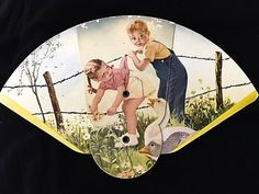 Vintage 1930s Advertising Fold Out Fan depicting Children & Goose Geese . 30s Boy n Girl Barb Wire Fence Field Flowers . Paperboard fan
