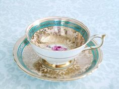 Vintage Paragon Teacup and Saucer in Turquoise / Tea cup and Saucer Set with Heavy Gold Turquoise and Pink