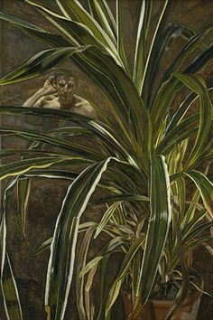 Bella Freud's Tribute to her Father Lucien... read here on her blog.  This painting is Interior with Plant Reflection listening (Self-portrait), Lucien Freud 1967