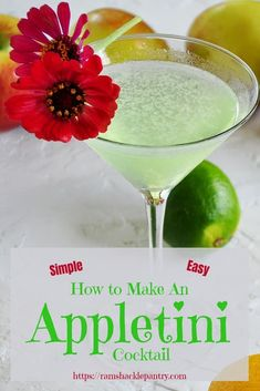 Easy Appletini Cocktail Recipe - The classic and tasty Appletini. Get this How to Make An Appletini Cocktail guide! It is easy and there is nothing standing between you and this great drink, other than the recipe. via Ramshackle Pantry Sour Apple Martini, Apple Vodka, Vodka Martini, Apple Martinis, Recipe For Apple Martini, Peach Vodka, Vodka Tequila, Martini Bar, Fun Cocktails