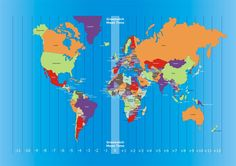 World map and time zones. Illustration of colorful world map showing time zones, , Science For Kids, Earth Science, International Time Zones, Amazing Science Facts, Geography For Kids, Facts For Kids, Environmental Education, Cartography, Blue Backgrounds