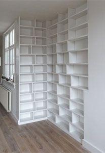 boekenkast inbouw maatwerk hoek maatkast