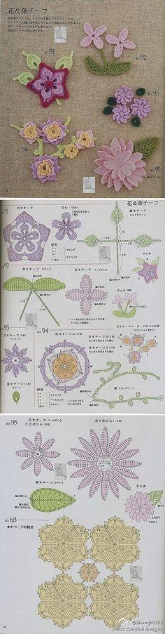 Motivos de flores para realizar tejidos en crochet lace.
