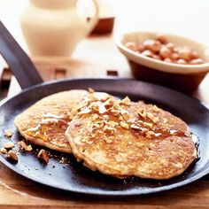 Notes: Chefs at the Coastal Kitchen in Seattle, Washington, serve these chunky pancakes simply, with butter and maple syrup.