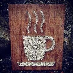 String art CUP OF COFFEE 12x14 Customizable wood by TautlyTangled, $35.00