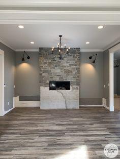 House Build Week 62-66 Building Section, Building A House, Pallet Towel Rack, Mannington Adura, Dining Room Fireplace, Oak Harbor, Hall Closet, Luxury Vinyl Flooring, Built In Bench