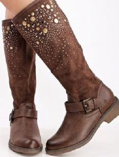 low riding boots with studs on upper edge.. very pretty