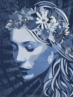 Denim Art - In his portrait collection of denim art, Ian Berry combines strips of various shades of blue jeans to create glamorously gorgeous girls and faces o. Ian Berry, Berry Berry, Denim Art, Denim Crafts, Illustration, Jolie Photo, Arte Pop, Pics Art, Op Art