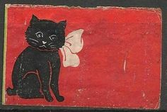 Old Matchbox Labels Japan Japanese cat