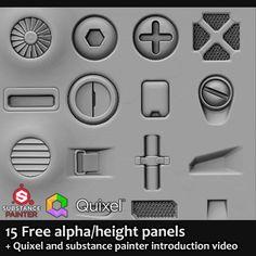 15 Free sci fi alpha/height panels + Video, Jonas Ronnegard on ArtStation at https://www.artstation.com/artwork/n4Awe