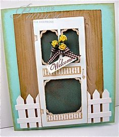 screen door, picket fence, metal screening, yellow roses, welcome card, aqua, kraft, white, B Line stamp
