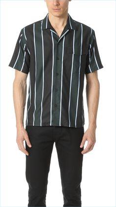 AMI Short-Sleeve Striped Shirt