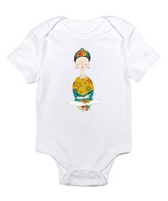 Love this Love you a Latte White Frida Kahlo Bodysuit - Infant by Love you a Latte on #zulily! #zulilyfinds