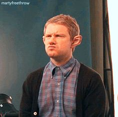 [Click through for .gif set] Martin Freeman, half in - half out of hobbit costume and character.